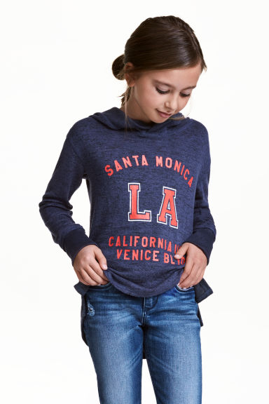 Hooded top with a print motif - Dark blue/Los Angeles - Kids | H&M 1