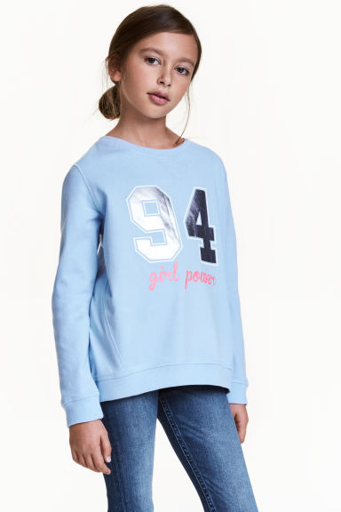 Printed sweatshirt - Light blue - Kids | H&M 1