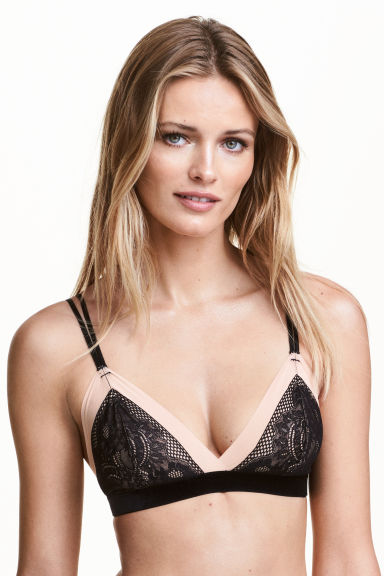 Soft mesh and lace bra - Black/Nougat - Ladies | H&M CN 1
