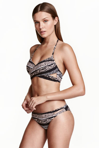 Bikini bottoms - Black/Beige/Patterned - Ladies | H&M 1
