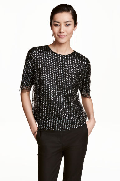 Sequined blouse - Black - Ladies | H&M CN 1