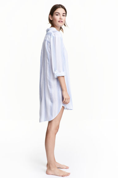 Viscose nightshirt - White/Blue striped - Ladies | H&M 1