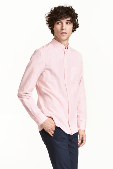Cotton shirt Regular fit - Light pink - Men | H&M 1