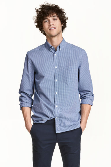 Cotton shirt Regular fit - Dark blue/Checked - Men | H&M CN 1