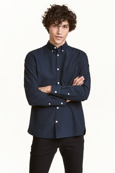 Camicia in cotone Regular fit - Blu scuro - UOMO | H&M IT 1