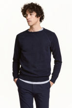 Fine-knit jumper - Dark blue marl - Men | H&M 1