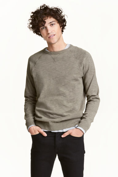 Fine-knit jumper - Khaki green marl - Men | H&M CN 1