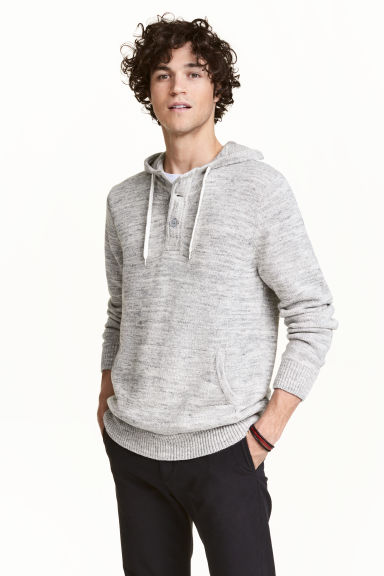 Knitted hooded jumper - Light grey marl - Men | H&M 1