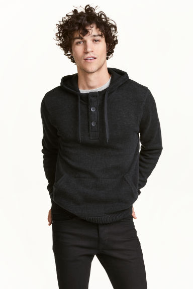 Knitted hooded jumper - Black marl - Men | H&M 1