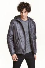 Padded jacket with a hood - Dark grey - Men | H&M CN 1