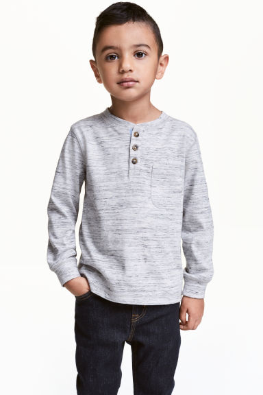 Henley shirt - Light grey marl -  | H&M 1