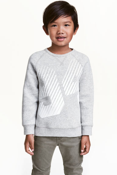 Sweat avec impression - Gris chiné - ENFANT | H&M FR