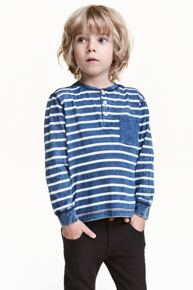 Henley shirt - Blue/Striped -  | H&M CN 1