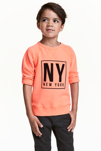 Sweat avec impression - Orange fluo/New York -  | H&M FR 1