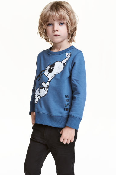 Printed sweatshirt - Blue/Snoopy - Kids | H&M CN 1