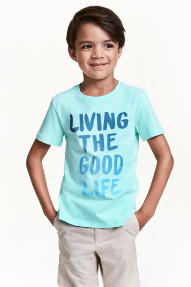 Printed T-shirt - Light mint green - Kids | H&M CN 1