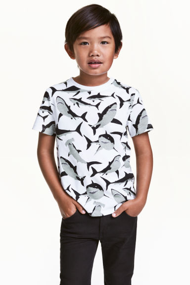 Printed T-shirt - White/Sharks - Kids | H&M CN 1