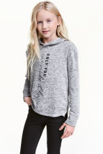 Hooded top with a print motif - Grey marl - Kids | H&M CN 1