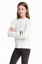 Cable-knit cotton jumper - White - Kids | H&M 1