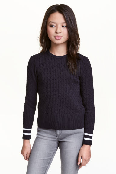 Cable-knit cotton jumper - Dark blue - Kids | H&M CN 1