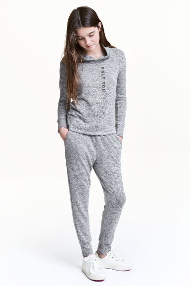 Fine-knit joggers - Grey marl - Kids | H&M 1