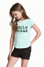 Printed jersey top - Mint green - Kids | H&M CN 1