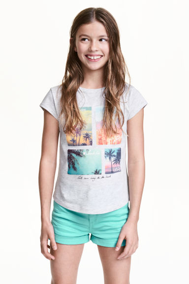 Printed jersey top - Light grey marl - Kids | H&M 1