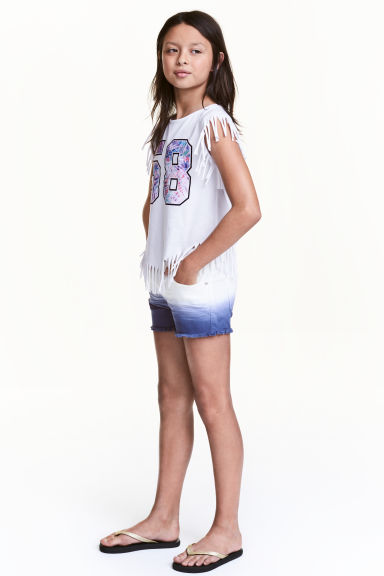 Twill shorts - White/Blue - Kids | H&M 1
