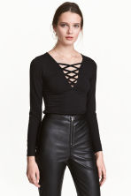 Top with lacing - Black - Ladies | H&M CN 1