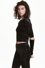 Jersey crop top - Black/Velvet - Ladies | H&M CN 1