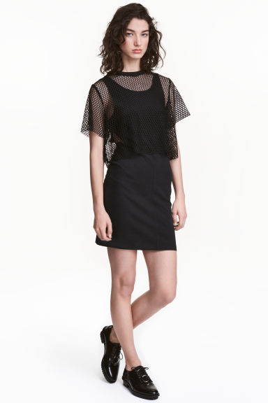 Dress with a mesh top - Black - Ladies | H&M CN 1