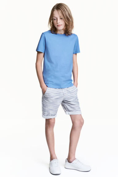 Shorts con elastico - Bianco/blu scuro righe -  | H&M IT 1