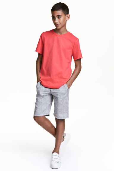 Elasticated shorts - Black/White marl - Kids | H&M 1