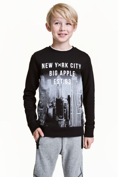 Printed sweatshirt - Black/New York - Kids | H&M 1