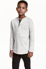 Henley shirt - Light beige/Striped -  | H&M 1