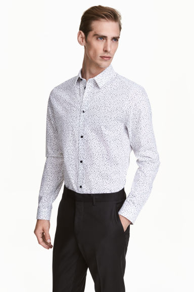 Patterned cotton shirt - White/Black - Men | H&M CN 1