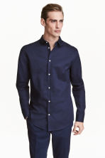 Premium cotton shirt - Navy blue - Men | H&M 1