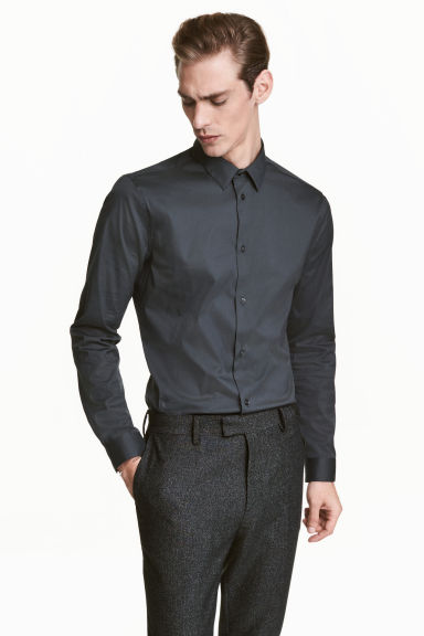 Stretch shirt Slim fit - Dark petrol - Men | H&M CN