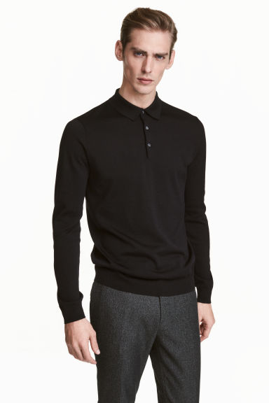 Long-sleeved silk-blend jumper - Black - Men | H&M CN