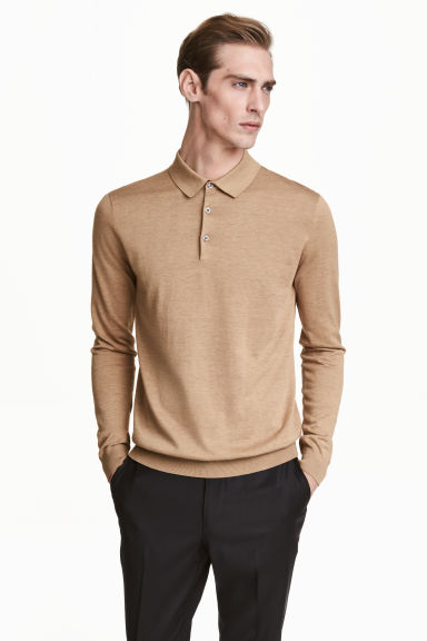 Long-sleeved silk-blend jumper - Dark beige marl - Men | H&M 1