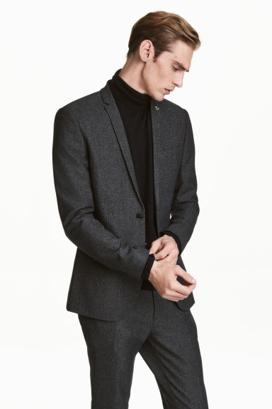 Jacket Skinny fit - Dark grey marl - Men | H&M CN 1