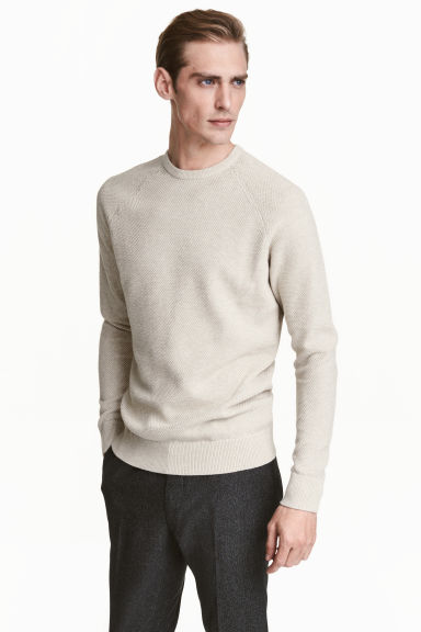 Premium cotton jumper - Light beige - Men | H&M CN 1
