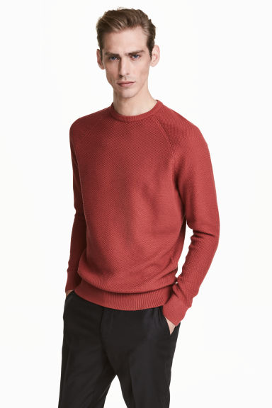 Premium cotton jumper - Rust red - Men | H&M 1