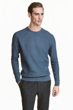 Premium cotton jumper - Pigeon blue - Men | H&M 1