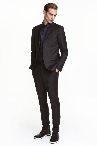 Wool suit trousers Slim fit - Black - Men | H&M