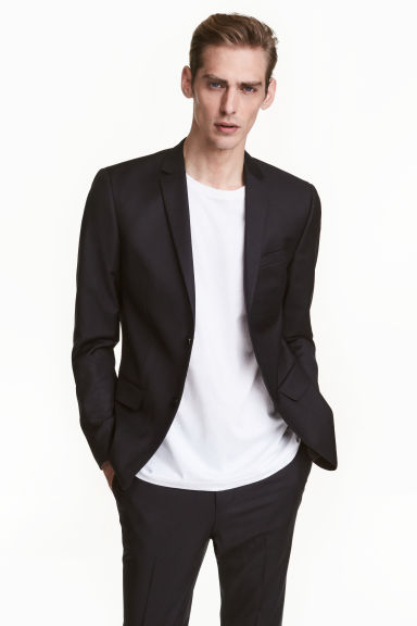 Wool jacket Slim fit - Black - Men | H&M GB 1