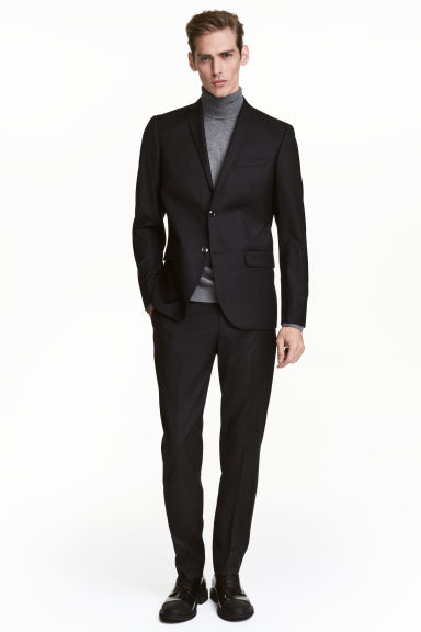 Wool suit trousers Regular fit - Black -  | H&M