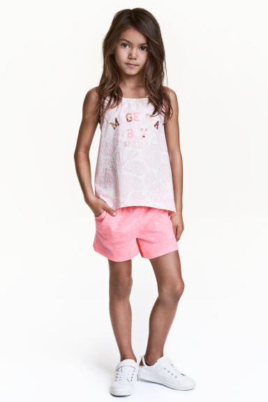 Shorts in jersey - Rosa neon mélange -  | H&M IT 1