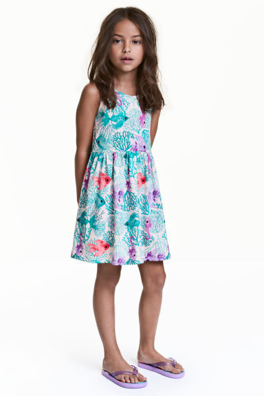 Patterned jersey dress - Light pink/Fish - Kids | H&M CN 1