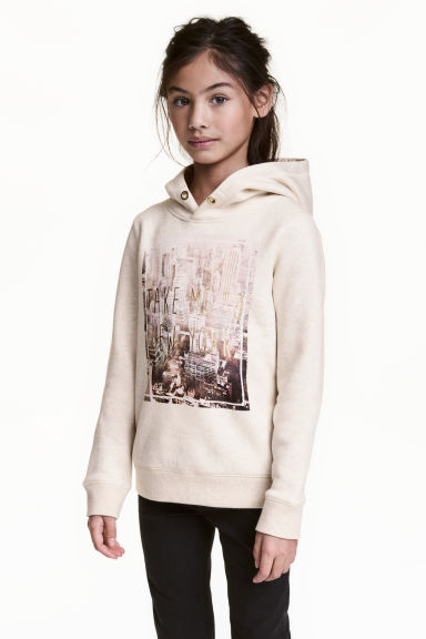 Hooded top with a text motif - Light beige -  | H&M CN 1
